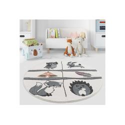 Kinderteppich Spielteppich Waldtiere, payé, Rund, Höhe 11 mm Rund - 120 cm x 120 cm x 11 mm