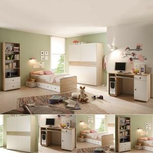 Jugendzimmer 7-teilig Kinderzimmer Wiki Bett Schrank Tisch Regal Sonoma Eiche