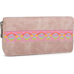 styleBREAKER Geldbörse Geldbörse mit Ethno Zacken Stick, Geldbörse mit Ethno Zacken Stick rosa