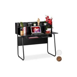 relaxdays Schreibtisch Schreibtisch mit Ablagefächern schwarz