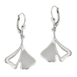 Gallay Paar Ohrhänger Ohrbrisur Ohrringe 37x19mm Ginkgo-Blatt rhodiniert glänzend Silber 925 (inkl. Schmuckbox), Silberschmuck für Damen