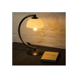 Licht-Erlebnisse Tischleuchte BARON Tischlampe Antik Braun Gold Creme Metall Glas Nachtisch Schreibtisch Lampe