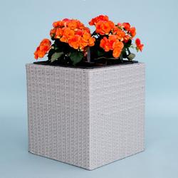 Pflanzkübel Polyrattan quadratisch 50x50x50cm Grau meliert