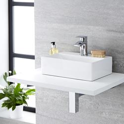 Waschbecken Sandford 36 x 25 cm für kleine Gäste WCs, Hänge- oder Aufsatzwaschbecken, von Hudson Reed