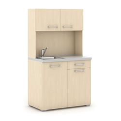 Büroküche primo mit spülbecken und mischbatterie, birke