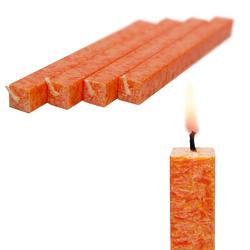 Wachskerze Orange 4-er Set amabiente - Stabkerze Stearin Kommunionkerze 19 cm - Orange
