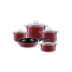 Riess Topf-Set Kochgeschirr-Set 5-tlg. Rosso, Premium-Email, (5-tlg), Topfset