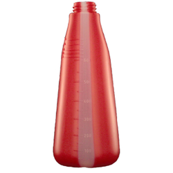 De Witte Leerflasche, 600 ml, Universelle leere Polyethylenflasche, Farbe: rot