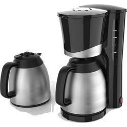 Team Kalorik Filterkaffeemaschine TKG KA 520 BK SI, 1l Kaffeekanne, Papierfilter, hochwertiger Kaffeeautomat mit 2 Thermokannen