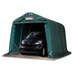 Toolport Zeltgarage 2,4x3,6m PVC 550 g/m² dunkelgrün wasserdicht Garagenzelt