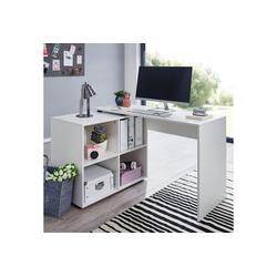 Wohnling Schreibtisch WL5.303, Design Eckschreibtisch mit Regal Weiß 117 x 75,5 x 88 cm Moderner Büro-Schreibtisch Computer-Tisch Arbeitszimmer Winkelschreibtisch Home Office