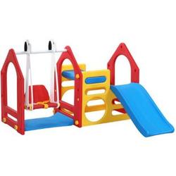 Kinder Spielhaus mit Rutsche Schaukel 155x135cm Spiel-Turm Kletter-Haus Kunststoff Kinderspielhaus