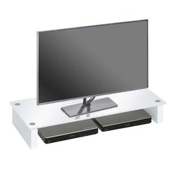 TV Tisch aus Weißglas niedrig