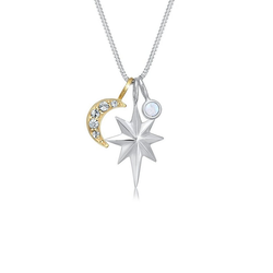 Elli Collierkettchen Stern Mondstein Swarovski® Kristalle Silber