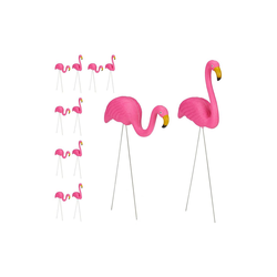 relaxdays Gartenfigur 12 x Flamingo Figur