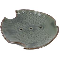 Guru-Shop Seifenschale Exotische Keramik Seifenschale - Fisch/grün 12 cm x 2 cm x 12 cm