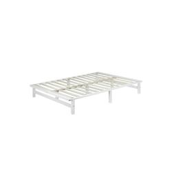 Homestyle4u Holzbett, Palettenbett mit Lattenrost, 140 cm weiß 140.00 cm x 200.00 cm x 28 cm