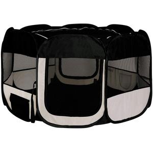 lionto by dibea Welpenauslauf aus Oxfordgewebe Freilaufgehege Tierlaufstall Farbe schwarz/beige