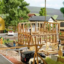 Busch 1371 H0 Fachwerkhaus im Bau