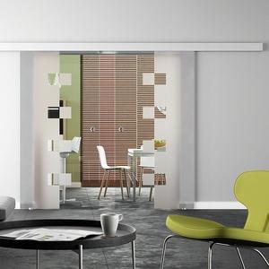 Glasschiebetür, BASIC-Beschlag - auch mit Softclose, 2-flg., Satiniert Design-Dekor