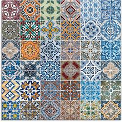 Artland Glasbild Gemusterte Keramikfliesen, Muster (1 Stück) 50 cm x 50 cm