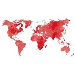 Wall-Art Wandtattoo 5 Bilderrahmen Weltkarte Rot (1 Stück) 180 cm x 92 cm x 0,1 cm