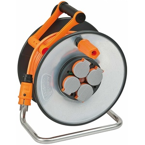 Brennenstuhl SteelCore 50 m Profi-Kabeltrommel Verlängerung mit Schutzkontakt-Stecker und 4 x Schutzkontakt-Steckdosen – Einsatz auf Baustellen und Außenbereich – IP44 – Signalfarbe orange