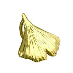 Gallay Kettenanhänger Anhänger, 9mm Ginkgoblatt glzd 9Kt GOLD (inkl. Schmuckbox), Goldschmuck für Damen