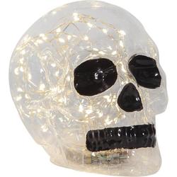 STAR TRADING Dekoobjekt Kristallschädel Dekolampe mit 70 warmweißen LEDs - 18x13,5x12,5cm - Batterie - Timer