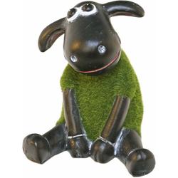 Casa Collection by Jänig Tierfigur Schaf grün (mit Rasenfell) sitzend, Höhe: 13cm (1 Stück)