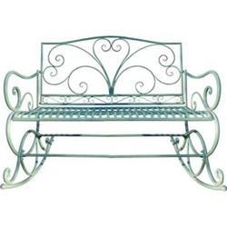 Schaukelbank MCW-C39, Sitzbank Gartenbank, 2-Sitzer Metall Verzierung 112cm ~ antik-grün ohne Sitzkissen
