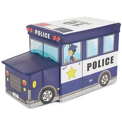 Aufbewahrungsbox mit Deckel faltbar Sitzhocker und Polsterung Spielzeugkiste 60L Aufbewahrungsboxen blau