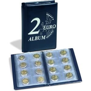 Leuchtturm 350454 Münzalbum Route 2-Euro - Taschenalbum für 48 2€-Münzen - 2 Euro Deckelprägung - blau
