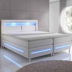 ArtLife Boxspringbett Norfolk (140 x 200, weiß) mit LED-Beleuchtung & Bonell-Federkernmatratze