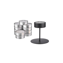 BUTLERS Kerzenhalter HIGHLIGHT Kerzenhalter & Maxi Teelicht-Set schwarz