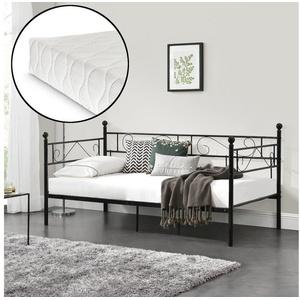 en.casa Metallbett, Granada - Tagesbett Kaltschaummatratze - 90x200cm - in verschiedenen Farben schwarz