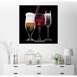Posterlounge Wandbild, Getränke – Bier, Wein und Sekt 40 cm x 40 cm