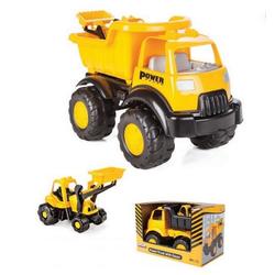 Pilsan Spielzeug-Kipper Spielzeug Baustellen LKW, 49 x 31 x 26 cm mit Bulldozer 06518 gelb