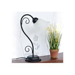 Licht-Erlebnisse Tischleuchte ATHEN Tischlampe im Landhausstil rustikal Schwarz Alabaster Glas 43cm Lampe