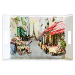 Lashuma Tablett Paris, Melamin, Bedrucktes Geschirrtablett, Desserttablett eckig mit Griffen bunt 54 cm x 35 cm x 3 cm