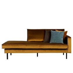 Couch Recamiere in Honigfarben Samt Retrostil