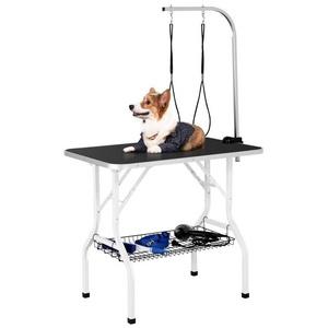Yaheetech Hundeschermaschine, Klappbarer Tragbarer Haustierpflegetisch Hundepflegetisch für Haushaltsbaden, Haartrocken und Haarschneiden Trimmtisch mit Netzkorb für Hunde/Katzen, schwarz, höhenverstellbar