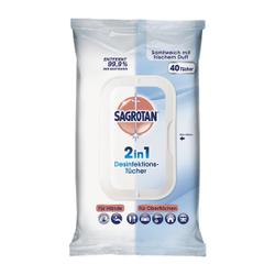 SAGROTAN 2in1 Desinfektionstücher, Feuchttücher zur Hand- und Flächendesinfektion, 1 Packung = 40 Stück