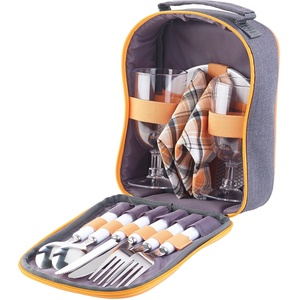 Picknick-Set für 2 Personen: Gläser, Servietten, Teller, Besteck