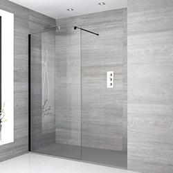 Nox 70-120cm Duschwand mit Duschtasse in Stein-Optik bis zu 180x90cm