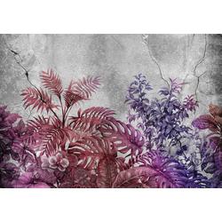 Consalnet Vliestapete Violette Pflanzen/Beton, floral 4,6 m x 3 m