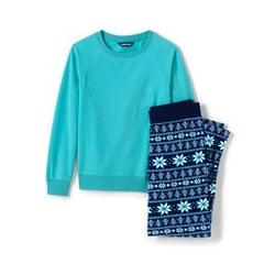 Fleece Pyjama-Set mit gemusterter Hose - 48-50 - Blau