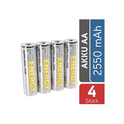 HEITECH AA Akku Mignon 2550 mAh 1,2V NiMH TÜV geprüft 4 Stück - Wiederaufladbare Batterien mit geringer Selbstentladung - Akkus für Geräte mit hohem Stromverbrauch Akku