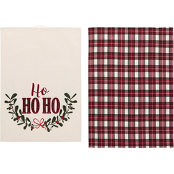 LeGer Home by Lena Gercke Geschirrtuch Sanjana, (Set, 6-tlg., 3x Geschirrtuch mit Schriftzug, 3x Geschirrtuch mit Karomotiv), mit Weihnachtsmotiv