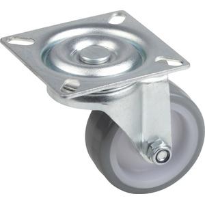 Metafranc Lenkrolle Ø 50 mm - 60 x 60 mm Platte - Polyurethan-Rad - Weiche Lauffläche - Gleitlager - 65 kg Tragkraft / Transportrolle / Möbelrolle / Schwerlastrolle / 802870